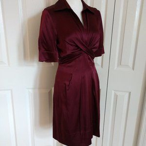 BCBGMaxAzria Silk V-Neck Short Sleeve Dress Size 6